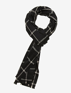 Cozy Pattern Scarf - tørklæder - black plaid