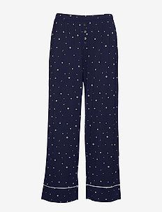 Ankle Flare Pants in Modal - pantalons larges - navy white star flower
