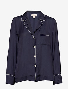Dreamwell Satin Shirt - MILITARY BLUE JAQUARD