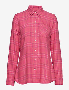 Plaid Flannel Shirt - PINK PLAID COMBO A