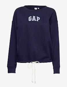 Gap Logo Tie-Hem Crewneck Sweatshirt - NAVY UNIFORM