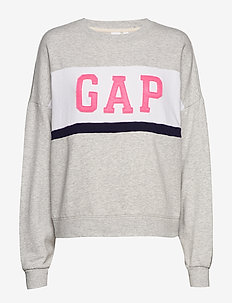 Gap Logo Colorblock Crewneck Sweatshirt - LIGHT HEATHER GREY