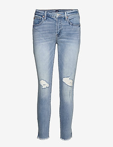 Mid Rise Distressed True Skinny Ankle Jeans - skinny jeans - light destroy