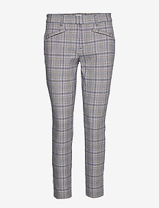 Plaid Skinny Ankle Pants - GREY PLAID