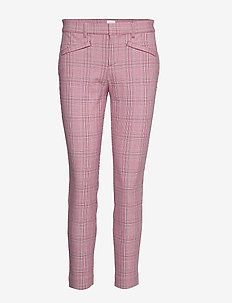 Plaid Skinny Ankle Pants - PINK PLAID COMBO A