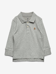 Toddler Long Sleeve Polo Shirt - LIGHT HEATHER GREY B08