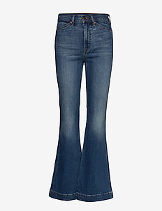 High Rise Flare Jeans with Secret Smoothing Pockets - spodnie - medium indigo 27