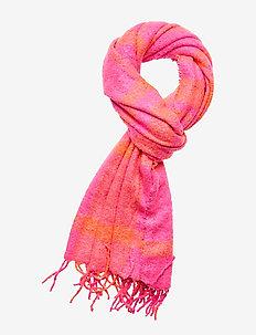 Cozy Boucle Fringe Scarf - scarves - sizzling fuchsia