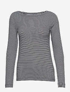 Modern Long Sleeve Boatneck T-Shirt - BLACK STRIPE
