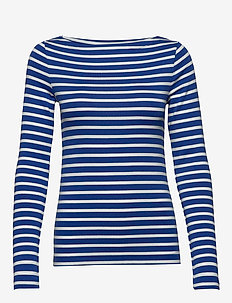 Modern Long Sleeve Boatneck T-Shirt - BLUE STRIPE COMBO B