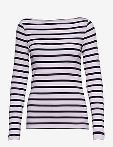 Modern Long Sleeve Boatneck T-Shirt - LAV STRIPE