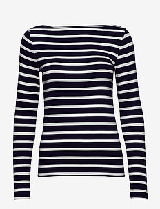 Modern Long Sleeve Boatneck T-Shirt - NAVY STRIPE