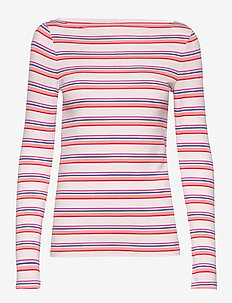 Modern Long Sleeve Boatneck T-Shirt - PINK MULTI STRIPE