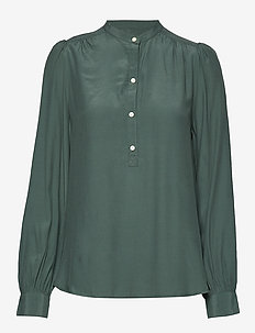 Popover Crepe Blouse - NEW VINTAGE GREEN
