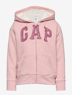 Kids Gap Logo Sherpa Hoodie Sweatshirt - PINK STANDARD