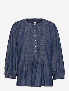 Three-Quarter Sleeve Pleated Popover Shirt in TENCEL™ - DARK INDIGO