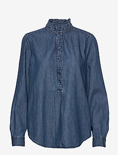 Denim Ruffle-Trim Popover Shirt - DARK INDIGO 4