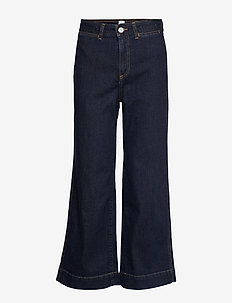 High Rise Wide-Leg Crop Jeans - pantalons larges - rinsed