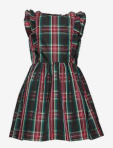 Kids Ruffle Plaid Taffeta Dress - TRUE BLACK V2 2