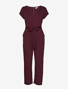 V-Neck Jumpsuit in Ponte - VAMP RED