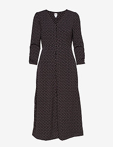 Puff Sleeve Button-Front Midi Dress - BLACK PRINT