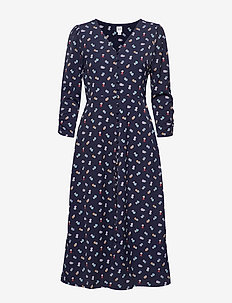 Puff Sleeve Button-Front Midi Dress - NAVY FLORAL