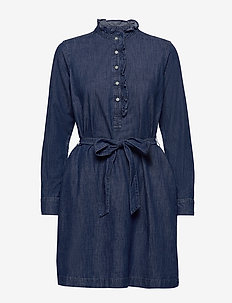 Denim Ruffle-Neck Shirtdress - shirt dresses - medium wash