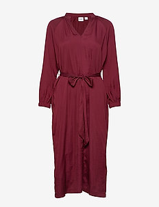 Split-Neck Midi Dress - wrap dresses - bell burgundy