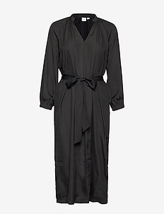 Split-Neck Midi Dress - wrap dresses - true black v2 2