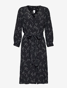 V-Neck Midi Shirtdress - wrap dresses - black floral