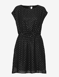 Metallic Clip-Dot Skater Dress - courtes robes - true black v2