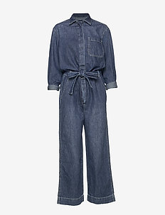 Utility Tie-Belt Jumpsuit - MEDIUM INDIGO 8