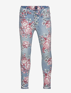 Kids Step-Hem Floral Jeggings with Stretch - FLORAL PRINT