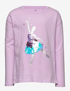 Kids Holiday Flippy Sequin Graphic T-shirt - langærmede t-shirts - violet mist
