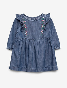Toddler Embroidered Ruffle Dress - MEDIUM WASH