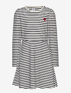 Kids Heart Stripe Fit and Flare Dress - NAVY UNIFORM