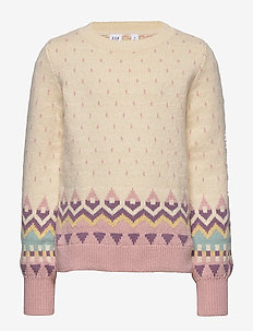 Kids Geometric Pattern Sweater - habits tricotés - ivory frost version 2