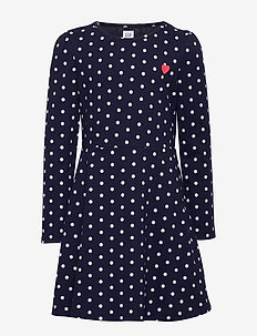 Kids Dot Heart Fit and Flare Dress - POLKA DOT
