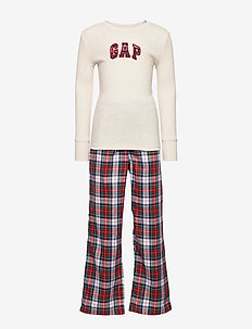 Kids Plaid Gap Logo PJ Set - OATMEAL HEATHER