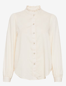 Ruffle-Neck Twill Shirt - langærmede bluser - ivory frost