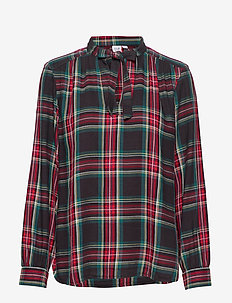 Plaid Tie-Neck Blouse - langærmede skjorter - red tartan plaid