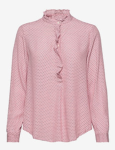 Ruffle Print Popover Blouse - 1 - PINK PRINT