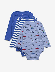 Baby Truck Bodysuit (3-Pack) - BUXTON BLUE