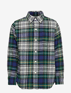 Kids Flannel Shirt - GREY BLUE PLAID