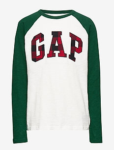 Kids Gap Logo Plaid T-Shirt - langærmede t-shirts - new off white