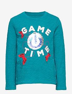 Kids Flippy Sequin T-Shirt - langærmede t-shirts - river teal