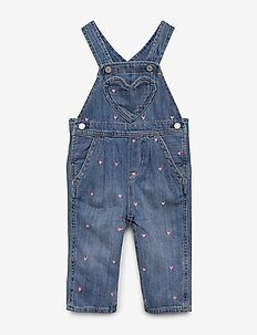 Baby Heart Denim Overalls - overalls - light wash
