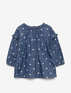 Baby Ruffle Heart Denim Dress - dresses - dark wash