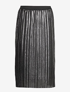 V-LUREX PLEATED SKIRT - midi skirts - silver