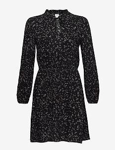 V-LS TIE NK DRESS - courtes robes - black print